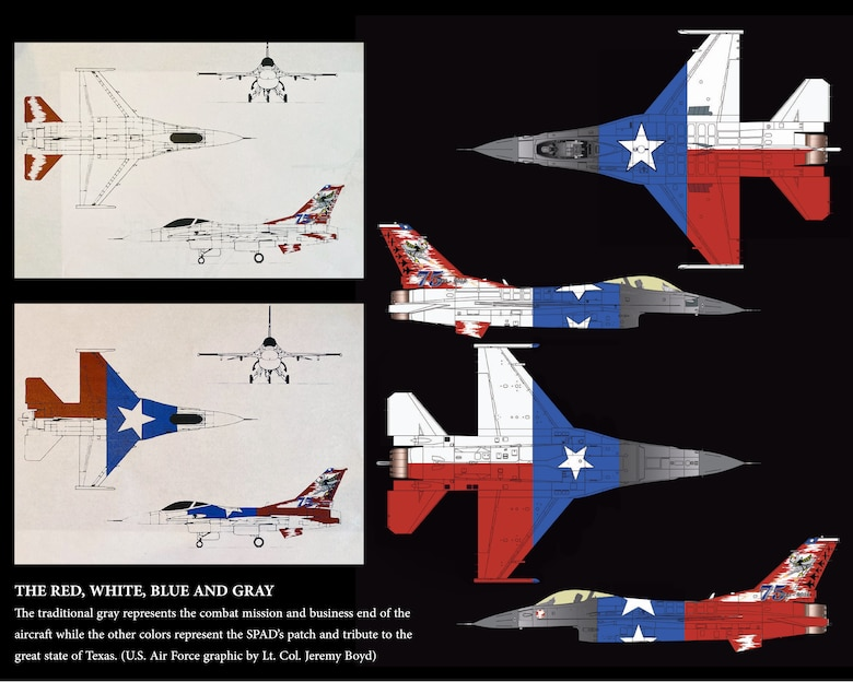 F-16 graphic design ideas by Lt. Col. Jeremy Boyd who turned in the winning submission to commemorate the 75th anniversary of the 457th Fighter Squadron assigned to U.S. Naval Air Station Joint Reserve Base Fort Worth, Texas. (U.S. Air Force graphic layout by Jeremy Roman)