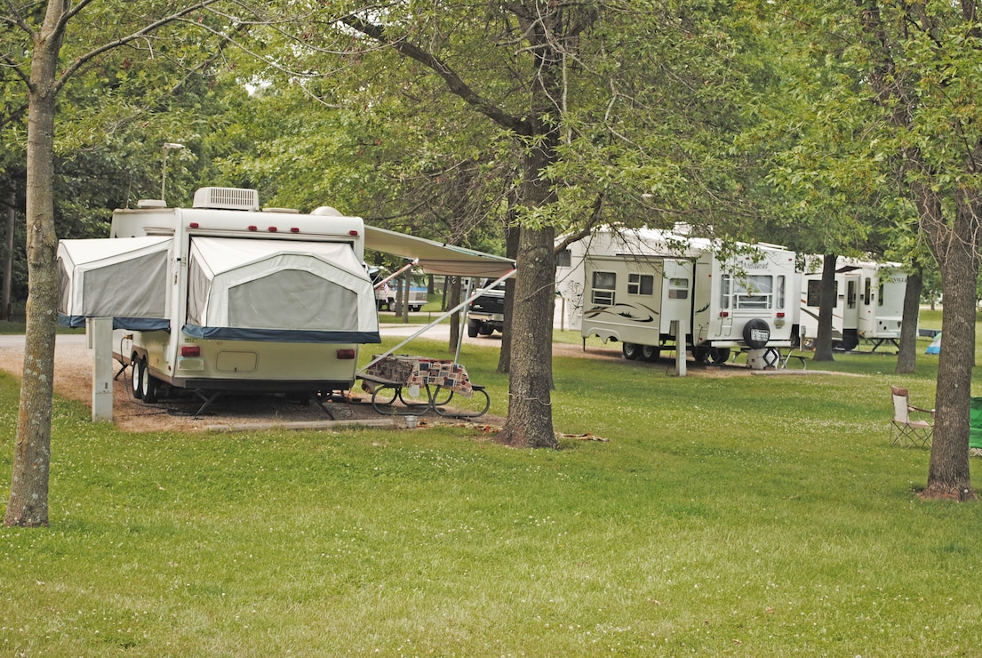 Camping Units set up in Wallashuck Campground