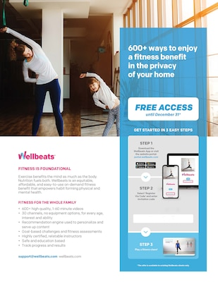 Image of flyer showing what Wellbeats offers in online fitness.