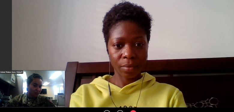 young woman on a video chat with an army recruiter