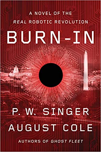 Red scheme background of D.C in book cover with black circle in the middle burning a hold in the book cover with white title