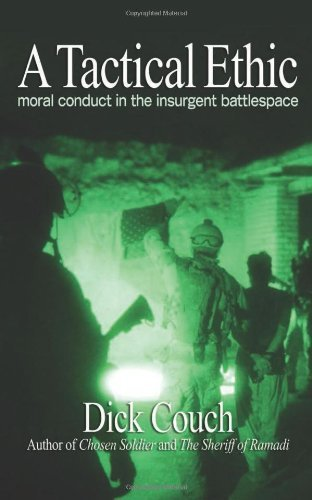 Book cover showing night light version of solider searching at nighttime with white title on the top