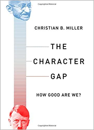 White book cover with vertical gauge meter on the left with face of Ghandi in blue on the top of meter and red Hilter face on the bottom of meter. Black title on the right