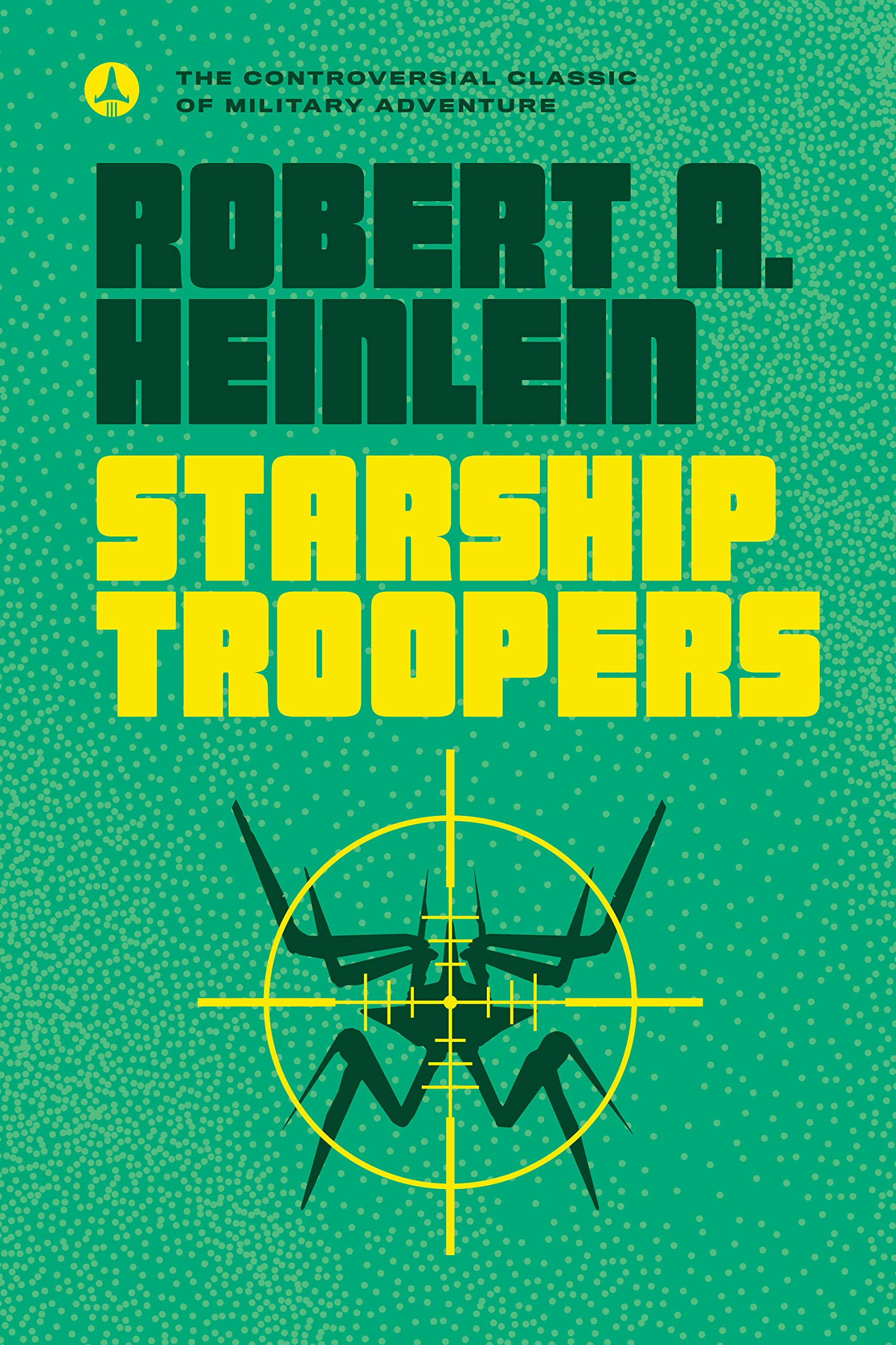Green book with light green dots repeatedly over the cover with yellow circle targeted ship