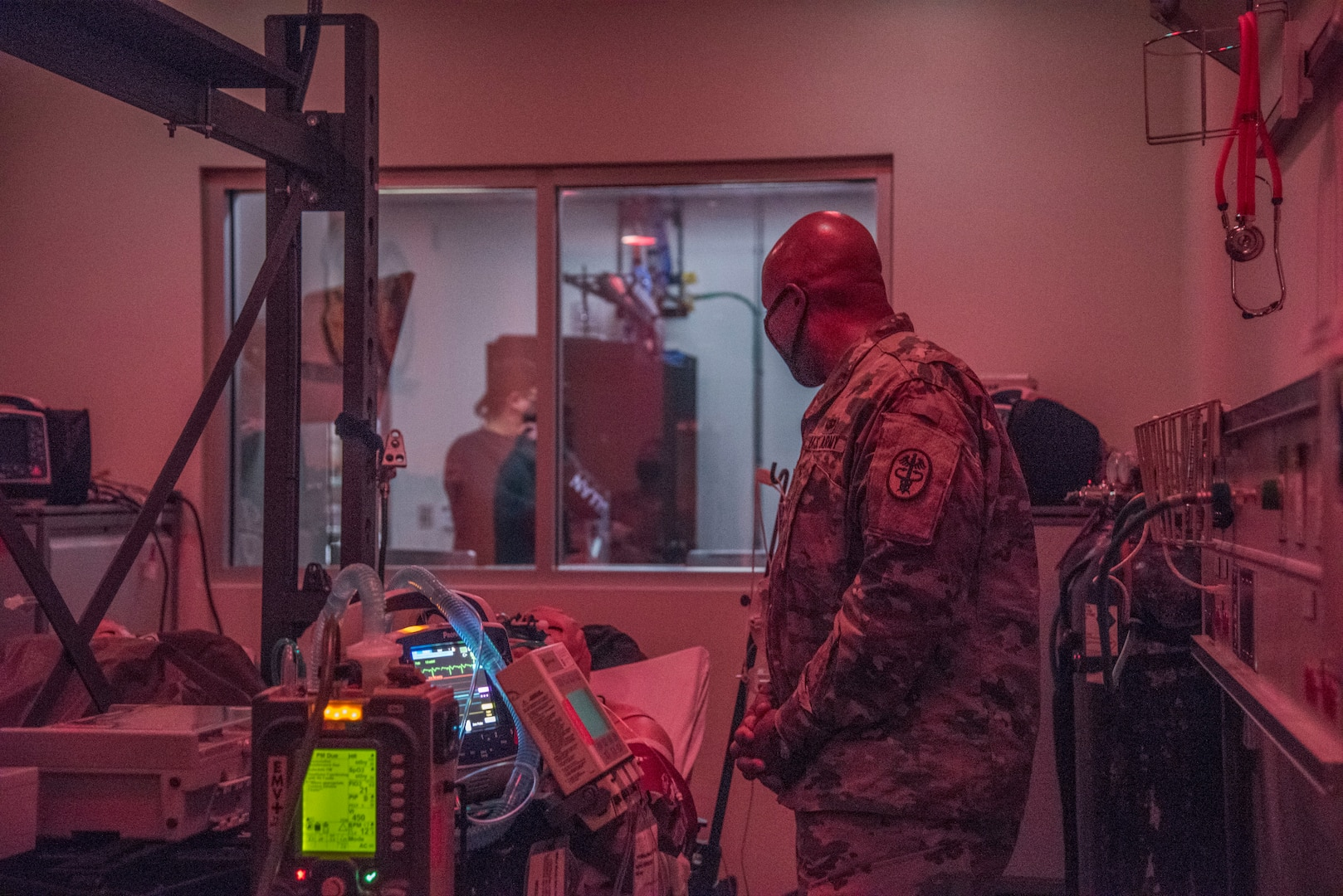 U.S. Army Brig. Gen. Shan K. Bagby, Brooke Army Medical Center commanding general, tours a Critical Care Air Transport simulation room, Nov. 23, 2020, in the 59th Medical Wing Medical Simulation Center, Wilford Hall Ambulatory Surgical Center, Joint Base San Antonio-Lackland, Texas.