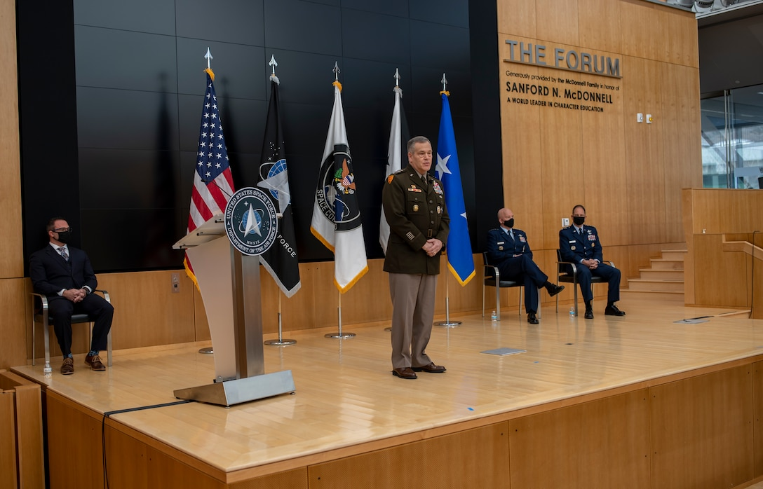 U.S. Army Gen. James Dickinson, U.S. Space Command commander, talks about Lt. Gen. John Shaw's contributions to USSPACECOM during Shaw's promotion and transfer ceremony Nov. 23, 2020, at the U.S. Air Force Academy in Colorado Springs, Colo.