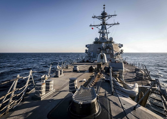 The Arleigh Burke-class guided-missile destroyer USS John S. McCain (DDG 56) transits through Peter the Great Bay while conducting routine underway operations. McCain is forward-deployed to the U.S. 7th Fleet area of operations in support of security and stability in the Indo-Pacific region.