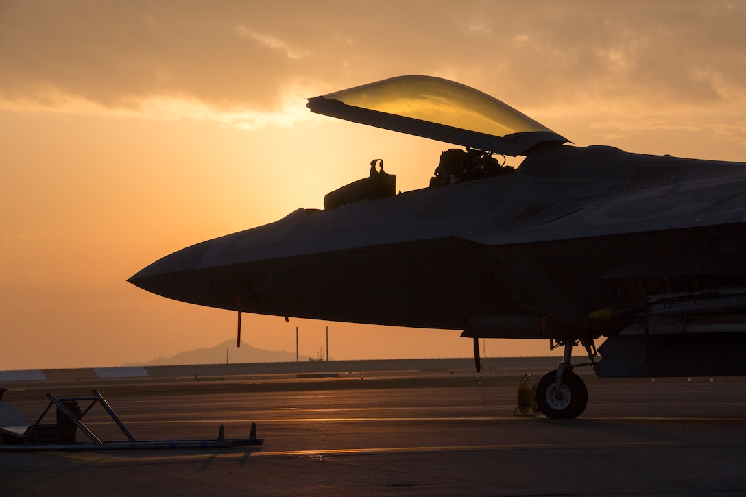 A U.S. Air Force F-22 Raptor prepares for flight operations out of Marine Corps Air Station Iwakuni, Japan, Nov. 19.