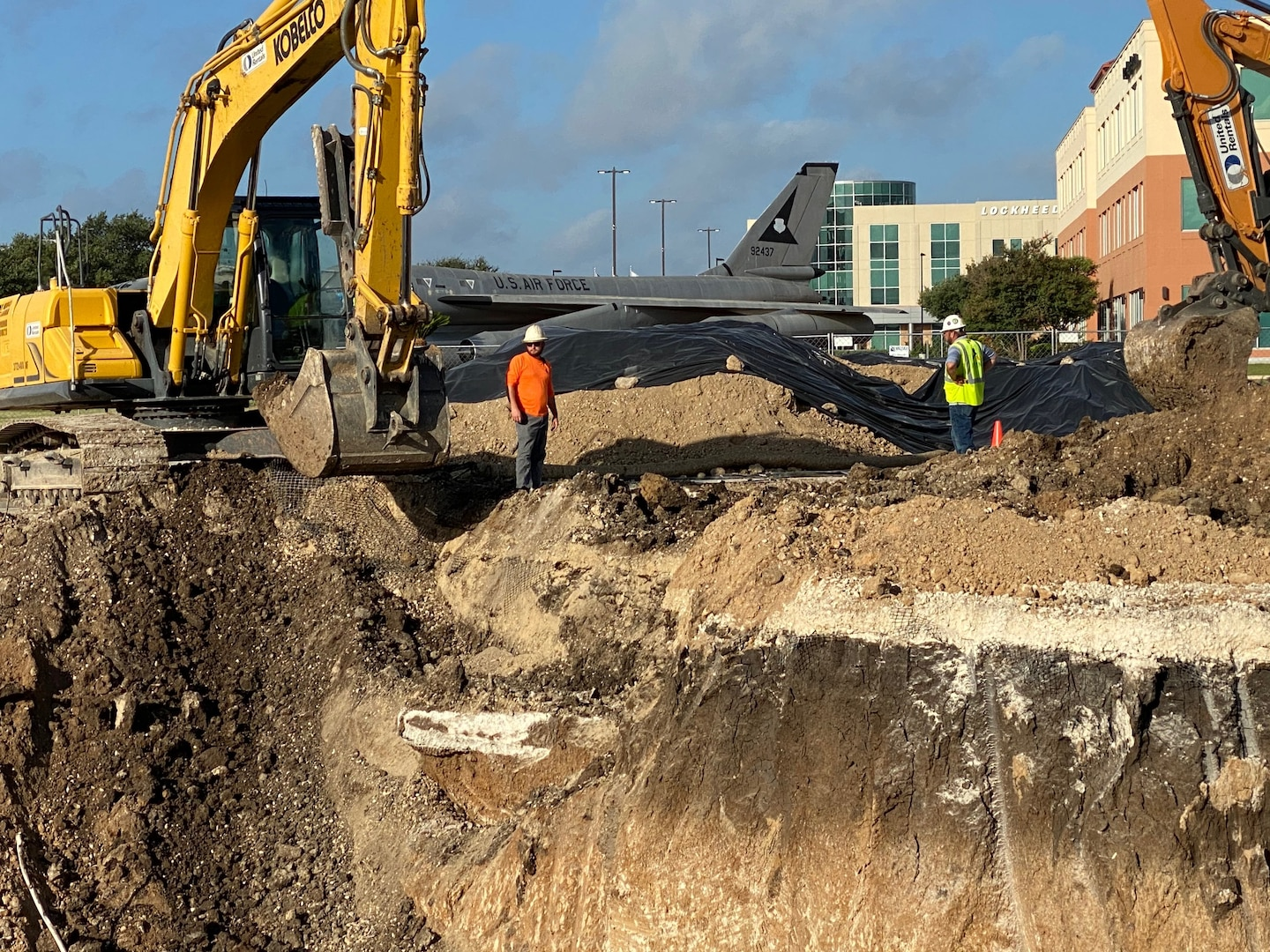 Contractors dig a site on the former Kelly Air Force Base, Texas.
