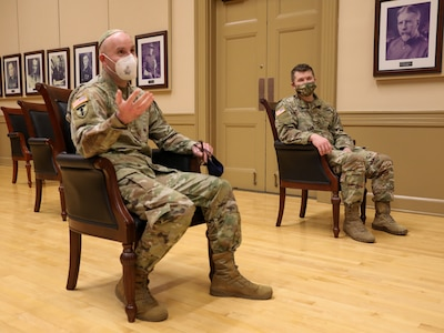Chaplain (Maj.) Aaron Rozovsky and Chaplain (Maj.) David Evans, assigned to the Armory of the District of Columbia National Guard, share a conversation reflecting on their journey to become Chaplains in the National Guard