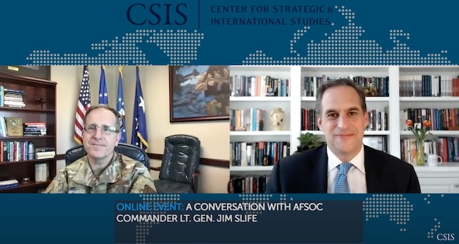 U.S. Air Force Lt. Gen. Jim Slife, left, commander of Air Force Special Operations Command, speaks with Seth Jones, Harold Brown Chair and Director of the Transnational Threats Project, the Center for Strategic and International Studies.