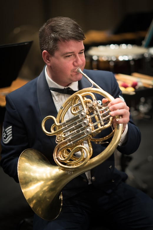 TSgt Manuel A. Collazo-Llantin displays his ability to wow audiences with his French Horn playing.