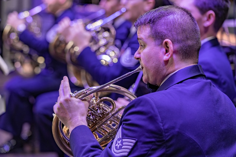 TSgt Manuel A. Collazo-Llantin performs an event with the Concert Band, a flight within the United States Air Force Band.