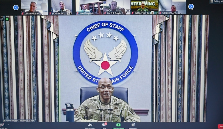 Air Force Chief of Staff Gen. Charles Q. Brown, Jr., addresses Airmen virtually online.