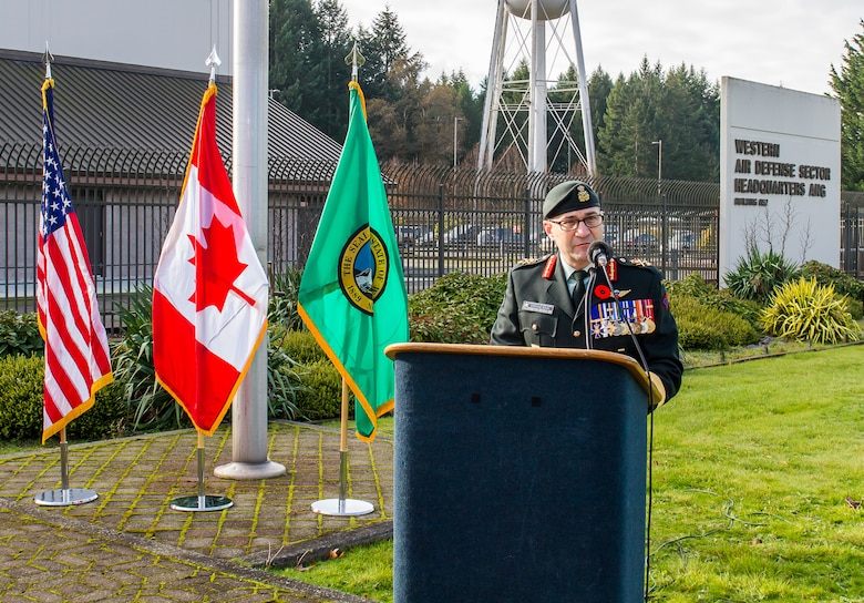 General Boivin speaking at the podium