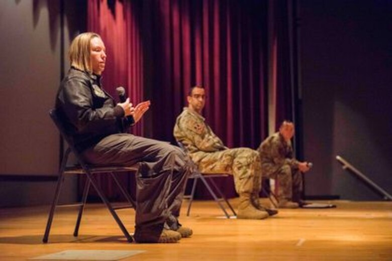 U.S. Air Force Capt. Raychel Bates, 93rd Air Refueling Squadron's assistant director of operations, tells her story at a Wingman Day Storytellers event Nov. 20, 2020, on Fairchild Air Force Base, Washington. Storytellers originated out of Incirlik Air Base, Turkey, and has grown to become an event held at many Air Force bases all over the world. (U.S. Air Force photo by 2nd Lt. Michelle Chang)