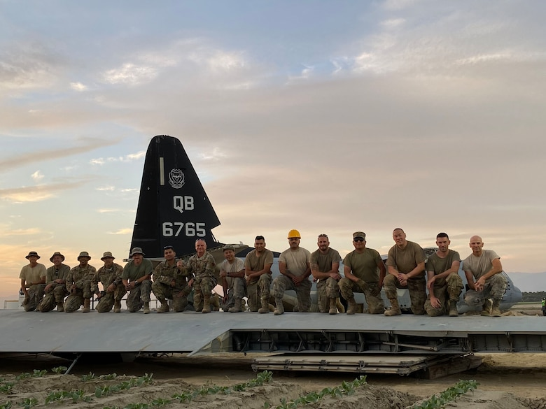 California Air National Guard Members with the146th Maintenance Group's CCDR (Crash, Damage, and Recovery Team) provided critical aircraft recovery support to assist Marines from Twentynine Palms, as they removed a KC-130J that collided with a Marine F-35B in the city of Thermal, California. (Courtesy photo by U.S. Air National Guard Col. Tim Martin)