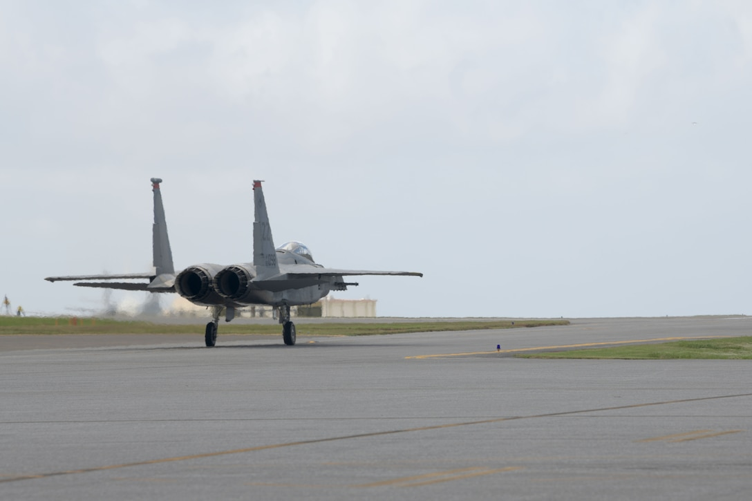 "An F-15C Eagle taxis down the flight line of Kadena Air Base, Japan, during a ""Super Surge,"" Nov. 18, 2020. The 44th and 67th Fighter Squadrons set a new record for the most F-15C Eagles flown in a week at 437 sorties; the previous record was 245 sorties. (U.S. Air Force photo by Airman 1st Class Rebeckah Medeiros)"