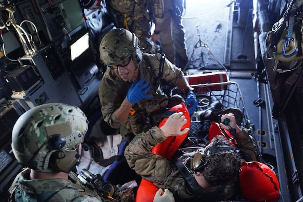 Airmen with the 21st Special Operations Squadron prepare to conduct tactical air-to-air refueling during search and rescue training off the coast of Okinawa, Japan, Nov. 1 9, 2020.