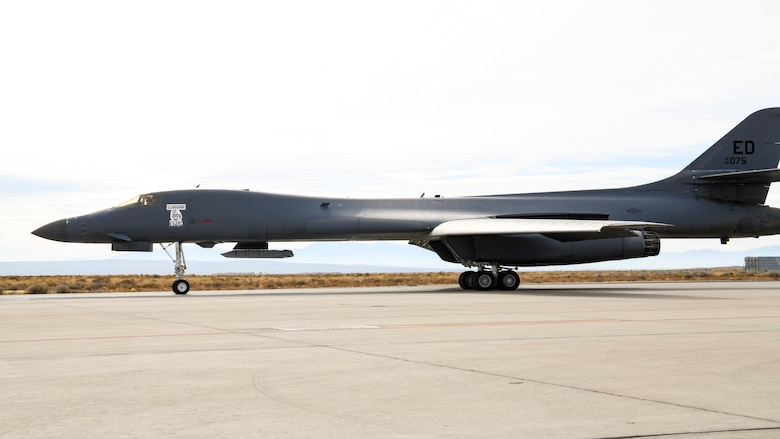 A B-1B Lancer taxis at Edwards Air Force Base, California, Nov. 20. The aircraft conducted a captive carry flight to demonstrate its external weapons capabilities with a Joint Air-to-Surface Standoff Missile (JASSM) in the skies over Edwards. (Air Force photo by 2nd Lt. Christine Saunders)