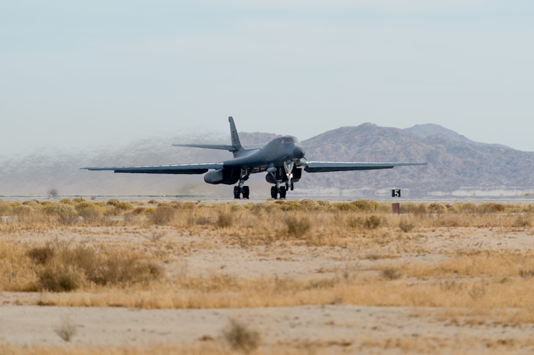 A B-1B Lancer with a Joint Air-to-Surface Standoff Missile (JASSM) takes off from Edwards Air Force Base, California, Nov. 20. The flight was a demonstration of the B-1B's external weapons carriage capabilities. (Air Force photo by Richard Gonzales)