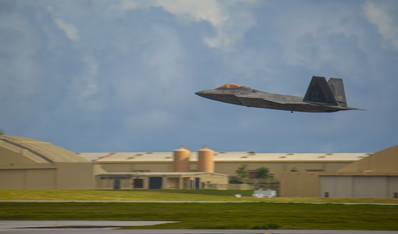 A U.S. F-22 Raptor assigned to the 94th Fighter Squadron departs Andersen Air Force Base, Guam, during a Dynamic Force Employment Nov. 22, 2020. DFE is an operational platform that allows our forces to be strategically predictable and operationally unpredictable. The United States security presence, along with our allies and partners, underpins the peace and stability that has enabled the Indo-Pacific region to develop and prosper for more than seven decades. (U.S. Air Force photo by Senior Airman Michael S. Murphy)