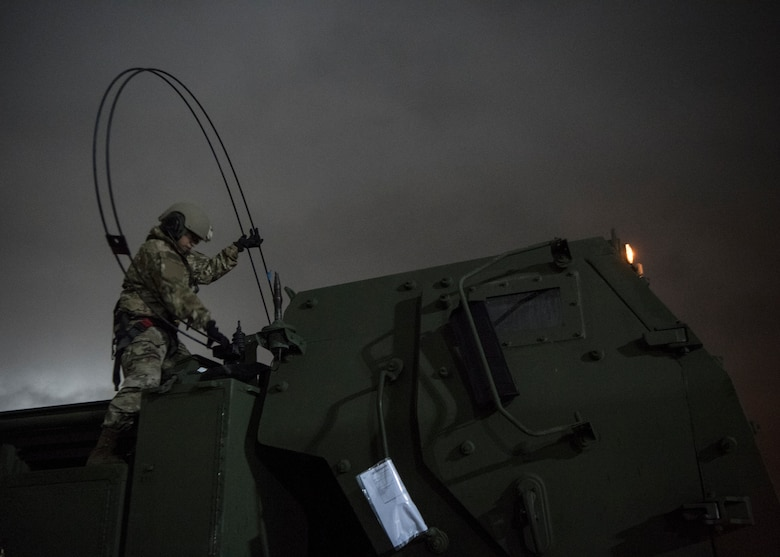 Members of the 37th Airlift Squadron and 41st Field Artillery Brigade worked together to load and transport a High Mobility Artillery Rocket System for exercise Rapid Falcon.