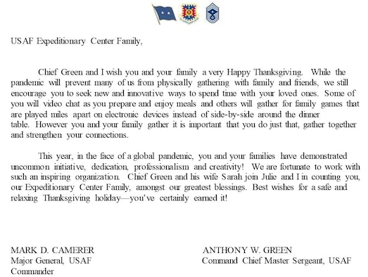 Graphic of a Thanksgiving letter from the USAF Expeditionary Center command team
