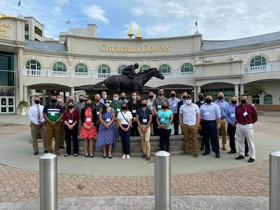 Students attending the McConnell Center's Strategic Broadening Seminar visited Churchill Downs on their opening day for a dinner and guest lectures from Brown Forman Company and others on the topic of leadership in a dynamic environment. The Army's Strategic Broadening Seminars introduce junior- and mid-career leaders to the discipline of strategic planning. The postgraduate seminars are part of the Strategic Studies Fellows Program.