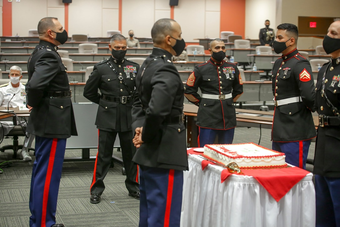 #MARFORSOUTH #Marines and Sailors celebrate the U.S. Marine Corps Birthday with a traditional cake cutting ceremony.