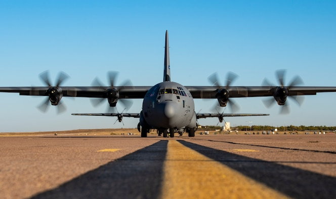 A C-130J Super Hercules starts its engines on the flightline at Dyess Air Force Base, Texas, Nov. 17, 2020.