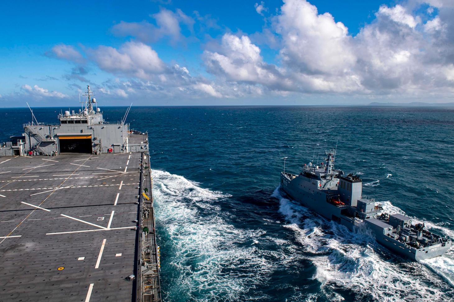 "USS Hershel ""Woody"" Williams (ESB 4); Tunisian Navy OPV Sophonisbe (P613)"
