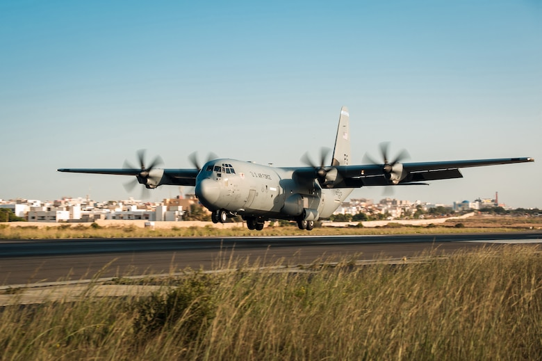 A U.S. Air Force C-130J Hercules aircraft from Ramstein Air Base, Germany, arrives at Léopold Sédar Senghor International Airport in Dakar, Senegal, Oct. 28, 2014, to deliver relief supplies during the Ebola crisis. The Kentucky Air National Guard has been selected to receive eight J-model aircraft to replace its aging fleet of C-130H aircraft, which have been in service since 1992. (U.S. Air National Guard photo by Dale Greer)