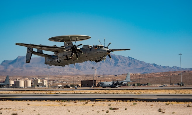 Aircraft lands at Nellis.