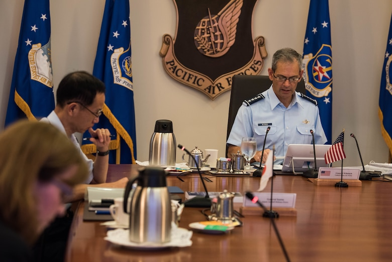 U.S. Air Force Gen. Ken Wilsbach, Pacific Air Forces (PACAF) commander, begins a round table discussion during an engagement at PACAF Headquarters on Joint Base Pearl Harbor-Hickam, Hawaii, Nov. 20, 2020. During the engagement, Air Chiefs from the Japan Air Self-Defense Force, Republic of Korea Air Force and Royal Australian Air Force were present to discuss operational priorities and common security interests between the countries. (U.S. Air Force photo by Staff Sgt. Hailey Haux)