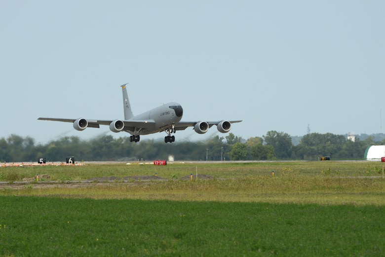A U.S. Air Force KC-135 Stratotanker assigned to the Iowa Air National Guard's 185th Air Refueling Wing leaves a trail of jet wash as it takes off from the Sioux City, Iowa, based Air Guard unit on Sept. 17, 2020.