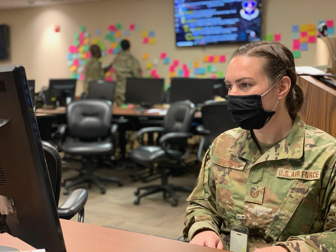 Airman works on computer