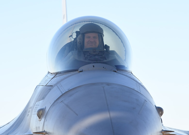 Col. Sean Rassas, 944th Fighter Wing vice commander, smiles from the cockpit of an F-16 Fighting Falcon after completing a milestone sortie Nov. 24, 2020, at Luke Air Force Base, Ariz.  This flight pushed Rassas passed three thousand flying hours in the F-16, making him one of only 296 U.S. Air Force pilots to reach that unique milestone.