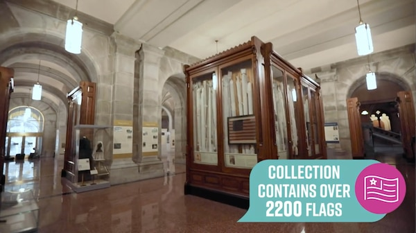 The Flag Room in the New York State Capitol in Albany, pictured in a virtual tour video, houses a collection of historic battle flags maintained by the New York State Division of Military and Naval Affairs.