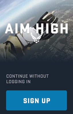 The Aim High app is available on both the Android and Apple operating systems, and can be used with or without a login in. (U.S. Air Force photo by Jessica Kendziorek)
