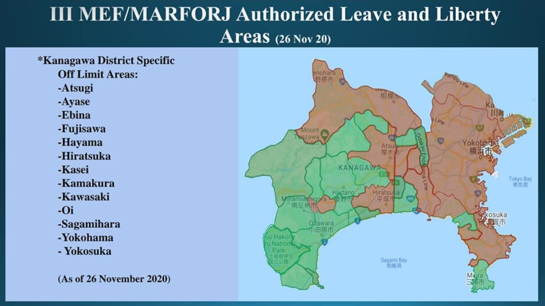 III MEF/MARFORJ Authorized Leave and Liberty Areas