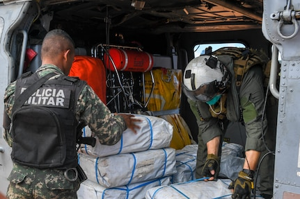 Helicopter Sea Combat Squadron (HSC) 22 embarked on the Freedom-variant littoral combat ship USS Sioux City (LCS 11) joins U.S. Southern Command's Hurricane Iota relief efforts in Central America, Nov. 27, 2020.
