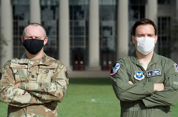Lt. Col. Eugene Keselman and Maj. Jonathan Hudgins are individual mobilization augmentees assigned to the U.S. Air Force-Massachusetts Institute of Technology Artificial Intelligence Accelerator, a groundbreaking partnership aimed at advancing the use of AI. (Capt. Kyle Palko)