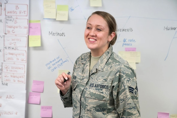 Senior Airman Bree Watson, 413th Flight Test Group, Robins Air Force Base, Georgia, leads a simulation exercise during a Continuous Process Improvement Green Belt academics course. Air Force Reserve Command is looking for members of the Reserve team with process improvement skills and certifications. (Courtesy photo)