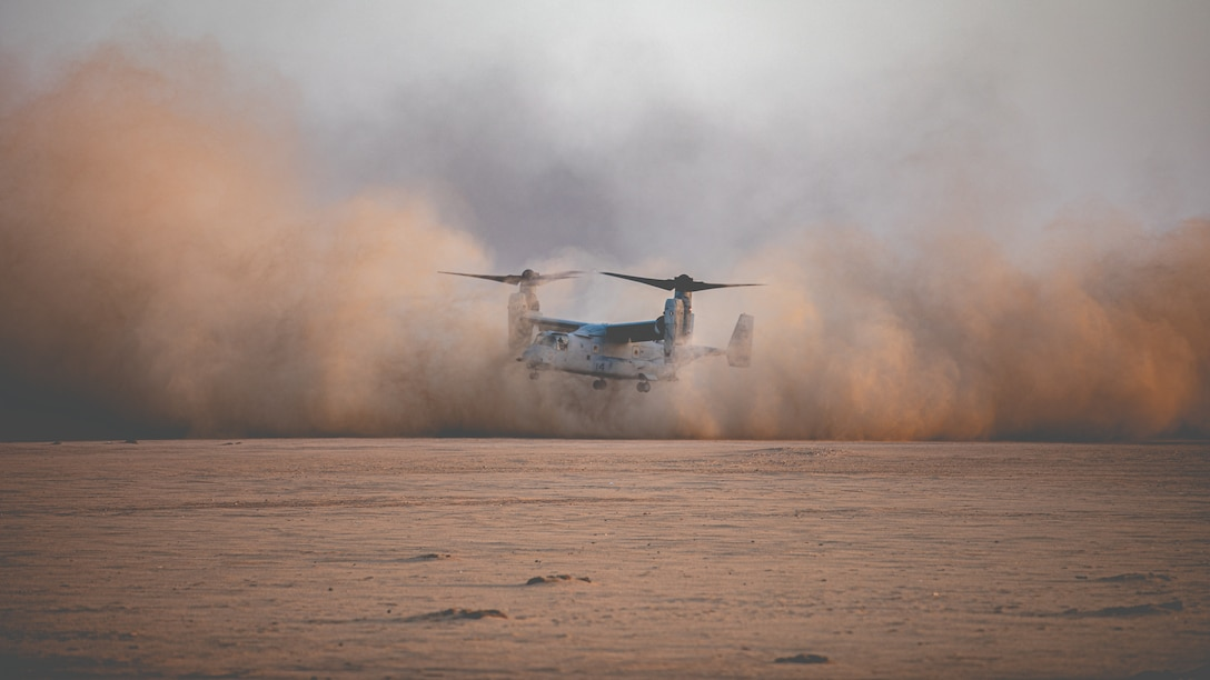 An MV-22 Osprey lands during a Tactical Recovery of Aircraft and Personnel exercise in Kuwait, Nov. 23.