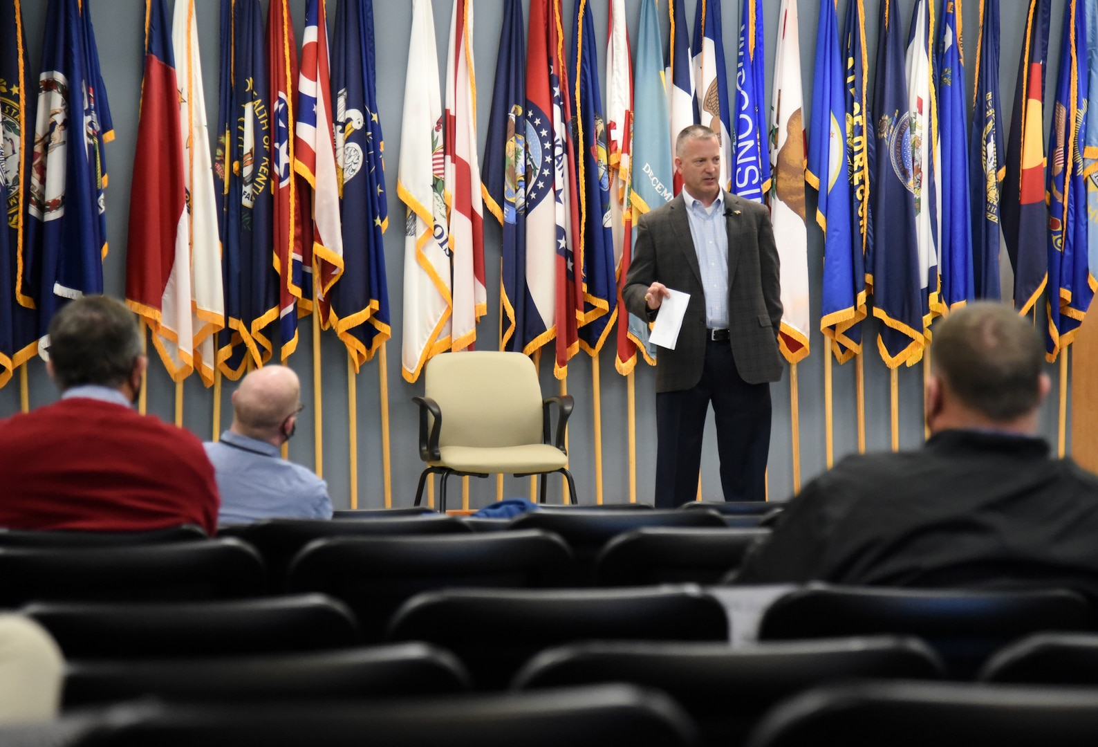 Brig. Gen. K. Weedon Gallagher, Virginia National Guard Land Component Commander, speaks to participants in the Virginia Department of Military Affairs' mentorship program during an event Nov. 19, 2020, at Fort Pickett, Virginia.