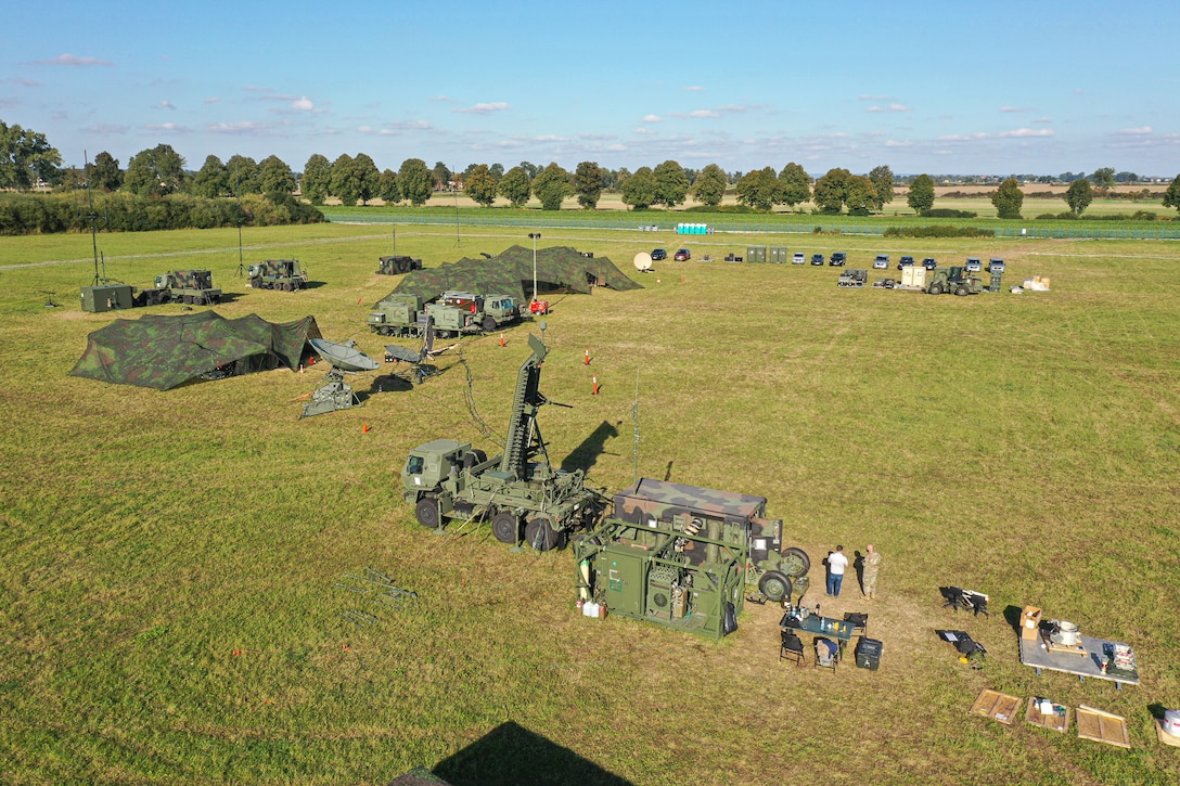 Airmen from the 606th Air Control Squadron prepare a deployed radar site for exercise Astral Knight 20 at Malbork Air Base, Poland, Sept. 18, 2020. Astral Knight 20 was a joint and multinational exercise where training focused on conducting integrated air and missile defense of various terrains. (Courtesy photo)