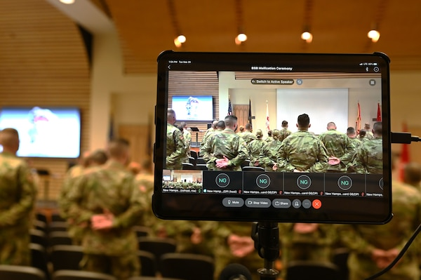 A socially distanced deployment ceremony for 45 soldiers of the NHARNG's 3643d Brigade Support Battalion is live streamed for family and friends Sept. 29, 2020, at the Edward Cross Training Center in Pembroke.