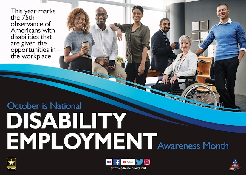 A poster advertises 2020 National Disability Employment Awareness Month.