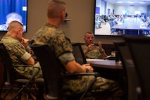 U.S. Marine Corps Lt. General Robert F. Hedelund, Commanding General of U.S. Marine Corps Forces Command (MARFORCOM), Fleet Marine Force Atlantic visits Marine Corps Security Forces Regiment (MCSFR), for a commander's conference meeting, Sept. 29, 2020, Naval Weapon Station, Yorktown, Virginia. The commander's conference presented senior leadership with a forum to discuss naval integration, force design, professional military education, and the future of the Marine Corps. During the two-day meeting, commanders from across MCSFR and MARFORCOM reviewed strategic guidance and discussed force design implementation affecting Fleet Marine Forces. (U.S. Marine Corps photo by Sgt. Desmond Martin/released)